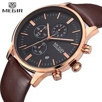 MEGIR Fashion Luxury Brand Watches Men leather Mesh Band Quartz Sport Watch Chronograph Men's Wrist Watches Clock Men