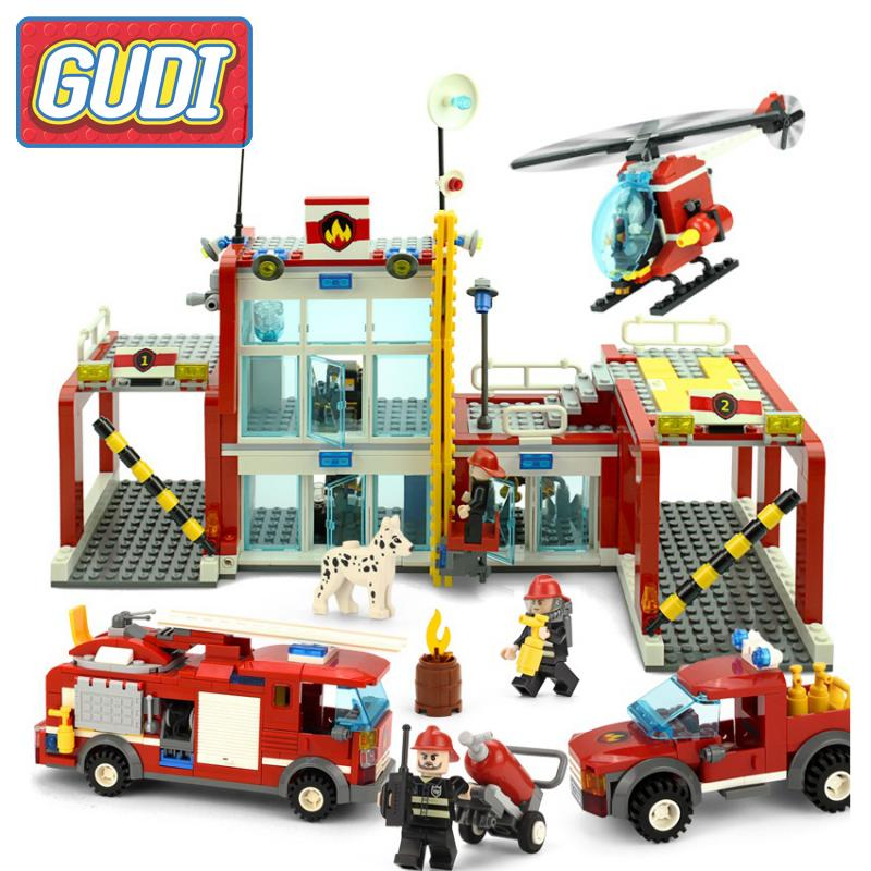 GUDI The Fire Department Rescue With Vehicles Helicopter Action Models Building Block Sets Bricks DIY Toys For Children Gifts gudi city fire emergency truck diy building block sets brick collectible 431pcs safe educational toys for children gifts