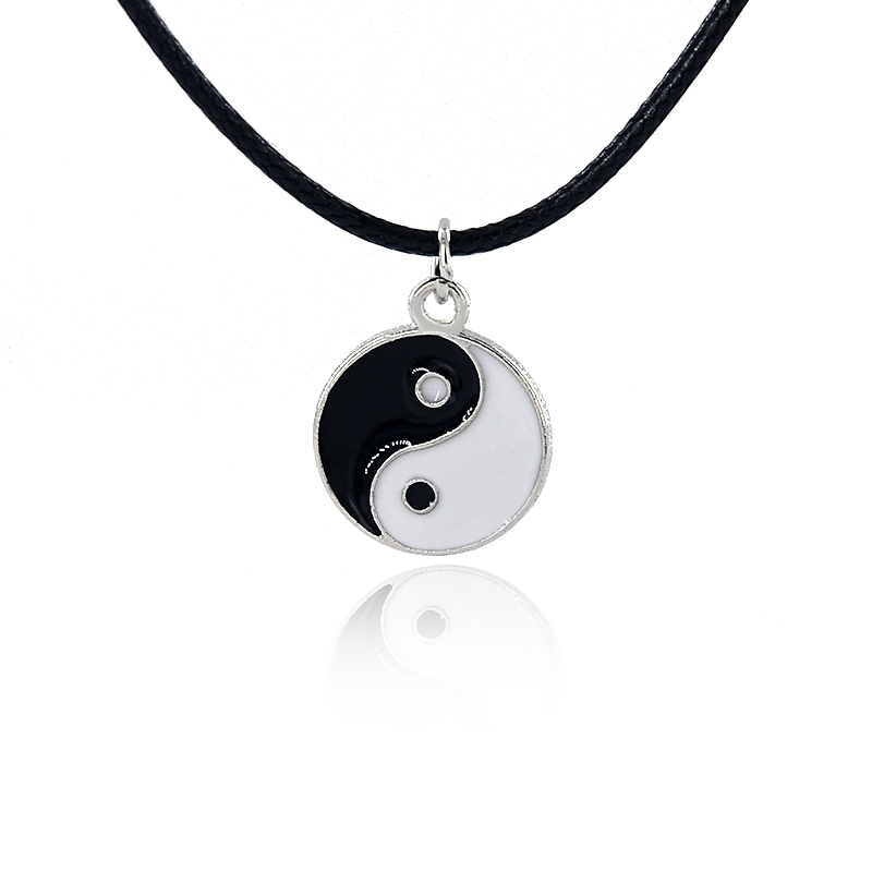 Yin Yang Pendant Necklace Black White Couple Sister Friendship Fashion Jewelry Unique Gifts for Women Enamel