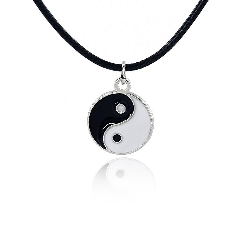Инь Ян кулон ожерелье черно-белая пара сестра дружба модные ювелирные изделия Уникальные Подарки для женщин эмаль