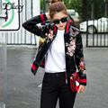 Новое Прибытие 2017 Sukajan Сувенир Мотоцикл PU Кожаная Куртка Женщин Короткий Цветочные Печатный Вышивка Бейсбольная Куртка Varsity