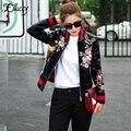 New Arrival 2017 Sukajan Souvenir Motorcycle PU Leather Jacket Women Short Floral Printed Embroidery Baseball Varsity Jacket