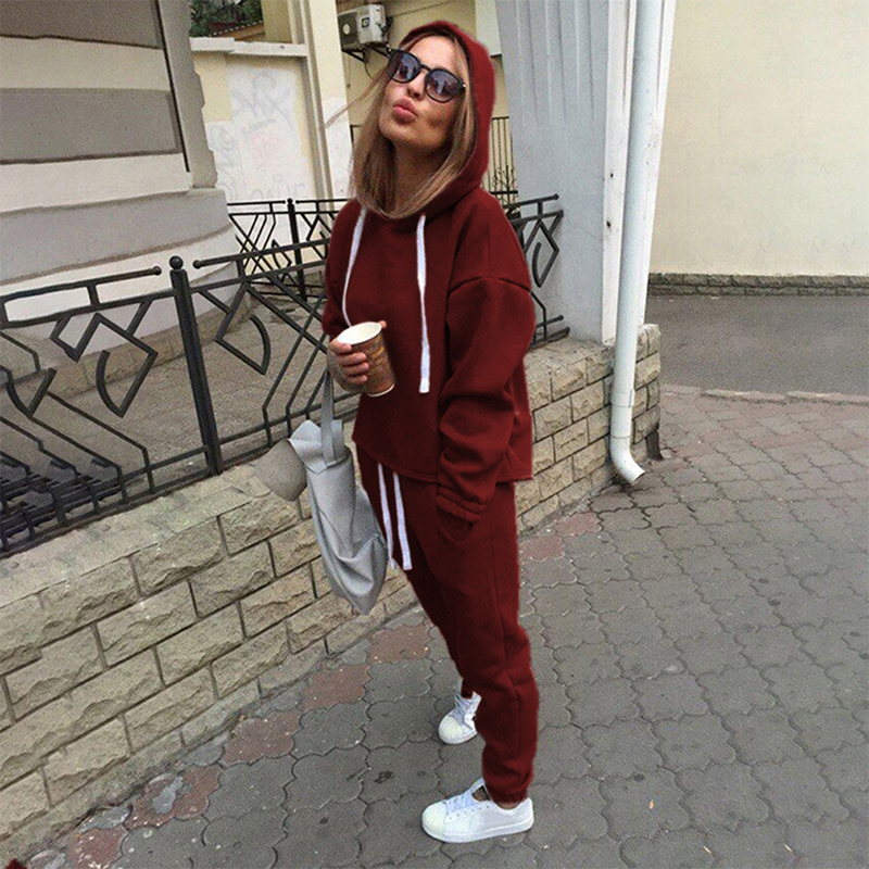 New Hot 2pcs Set Hoodies Loose Hooded Tops Sweatshirt+Solid Long Pants 2 Pieces Sets Women Clothing Suits Female Tracksuit