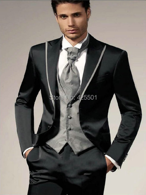 Best Ing Custom Made Groomsman Black Suit Men Wedding Suits Groom Tuxedos For Bridegroom Jacket