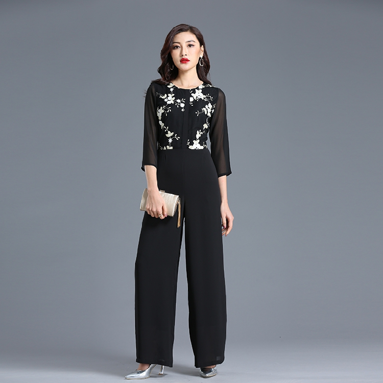 Summer Jumpsuit for Women High Street Rompers Chiffon Floral Elegant Party Black Wide Leg Full Length Suit Plus Size 3XL 4XL
