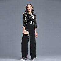 Summer Jumpsuit for Women High Street Rompers Chiffon Floral Elegant Party Black Wide Leg Full Length Suit Plus Size 3XL 4XL