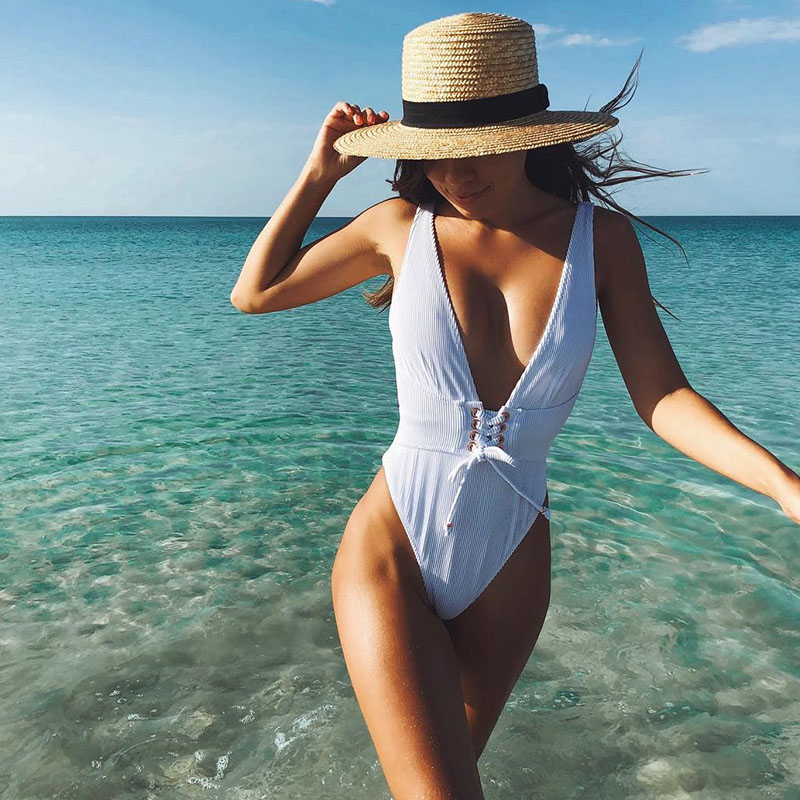 2018 Sexy Deep-V One Piece Swimsuit White Black Solid Women Swimwear Bodysuit Bandage Cut Out Summer Beach Bathing Suit Swim sexy one piece swimsuit women swimwear green leaf bodysuit bandage cut out summer beach bathing suit swim monokini swimsuit