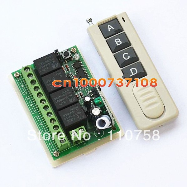 !1pc 315MHz /433MHz DC 12V 10A 4CH Wireless Remote Control Switch Systems Learning code remote control channal zndiy bry dc 12v 4 ch learning code remote control switch kit black blue