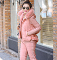 SusanDick New Women Winter Suit Sportswear Fashion Thicken Warm Fur Cotton Padded Down Coats & Top Shirt & Pants Three Piece Set