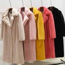 Имитация меха норки и искусственный мех, теплое Женское пальто, новинка, меховая плюшевая куртка, Женская длинная куртка, свободная утепленная шуба NUW533