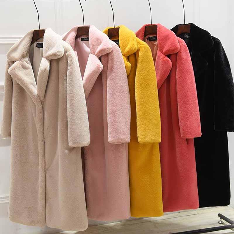 Imitation Mink Fur & Faux Fur Warm Women Coat 2019 New Fur Plush Jacket Female Long Section Loose Thickening Fur Coat NUW533