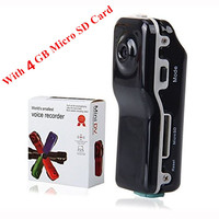 4GB Mini DVR Camera MD80 Clip Mini Camcorders Cams Bracket Support Memory Card HD DVR Sports