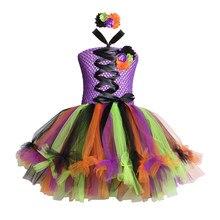65adcb2bef Niñas bruja tutú vestido con diadema tul flor niños Halloween Disfraces  disfraces fiesta tutú vestidos para niñas Halloween ropa