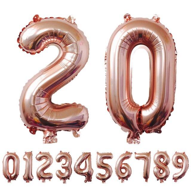 """1 шт. 3 Размеры 16 """"/32""""/40 """"розовое золото номер шар цифры Фольга поплавок воздуха надувные шары для День рождения Свадебные украшения"""
