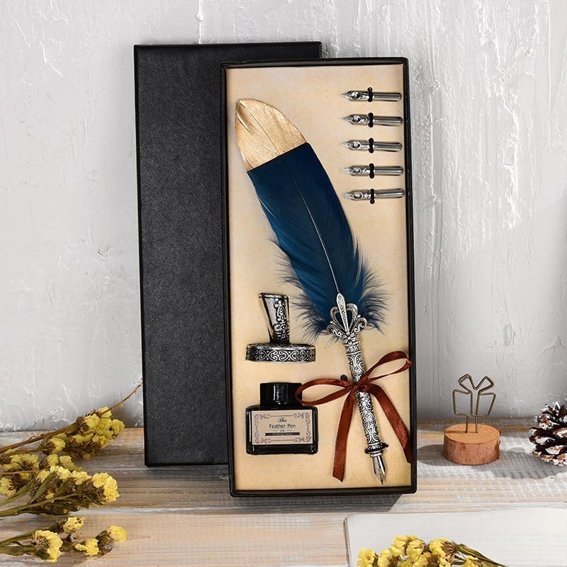 1 Set Kalligraphie Feder Dip mit 5 Nib Geschenk Quill Stift Schreiben Tinte Set Geschenk Box Hochzeit Brunnen Stift Design neue