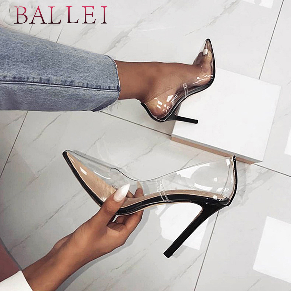 Ballei Style Girl Clear Pump Strong Excessive High quality Pu Horny Excessive Skinny Heel Sneakers Elegant Pointed Toe Occasion Marriage ceremony Pumps X9