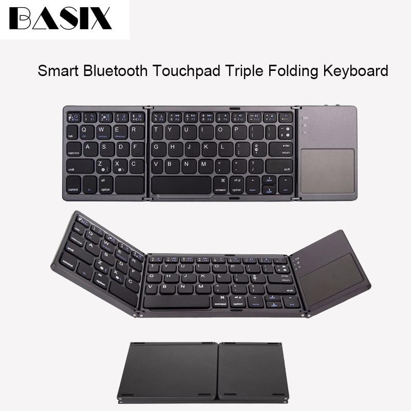 Clavier Bluetooth pliant Basix clavier Portable BT Mini clavier tactile pliable sans fil pour tablette Ipad IOS/Android/Windows