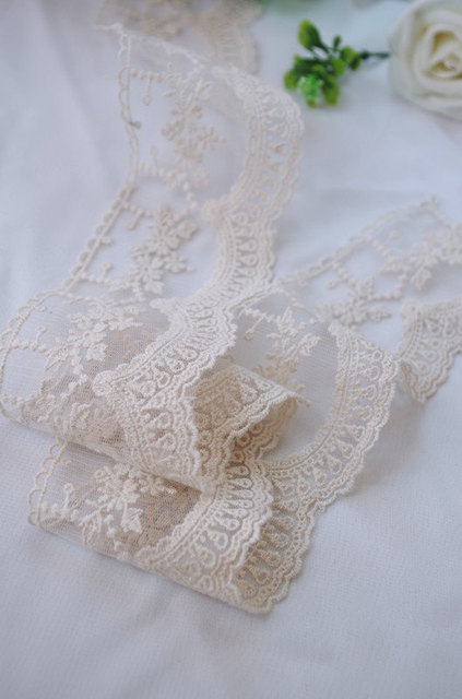 cream Cotton Lace trim, ivory embroidered lace trim WSCX016M 1yard
