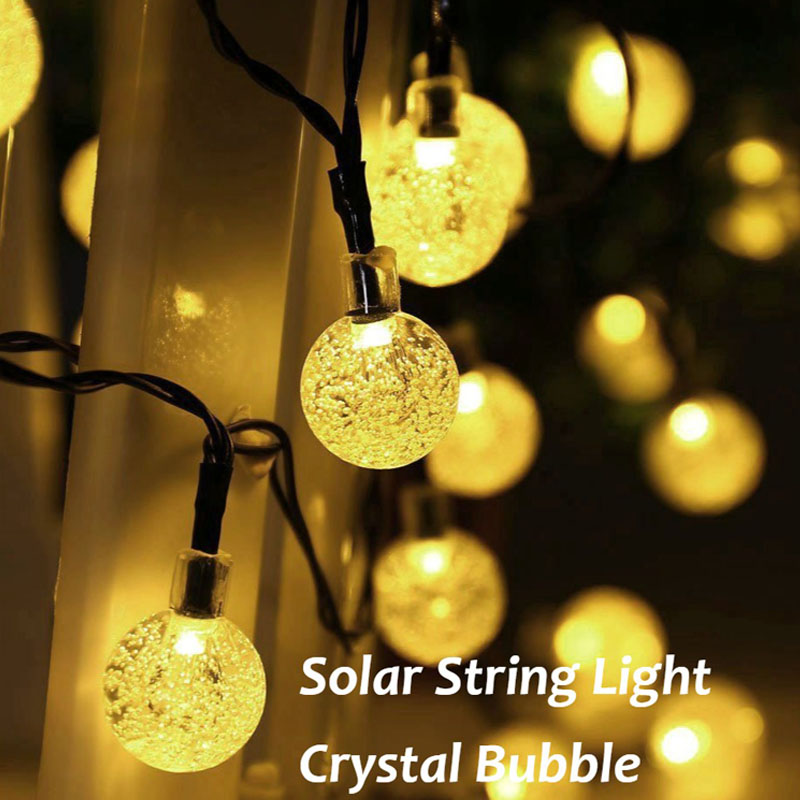 Solar LED Kristall Ball String Licht 7 mt Wasserdicht Fairy Lichter ...