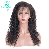Lace Front Human Hair Wigs Deep Wave 150 Density 360 Lace Frontal Wig Pre Plucked Hairline