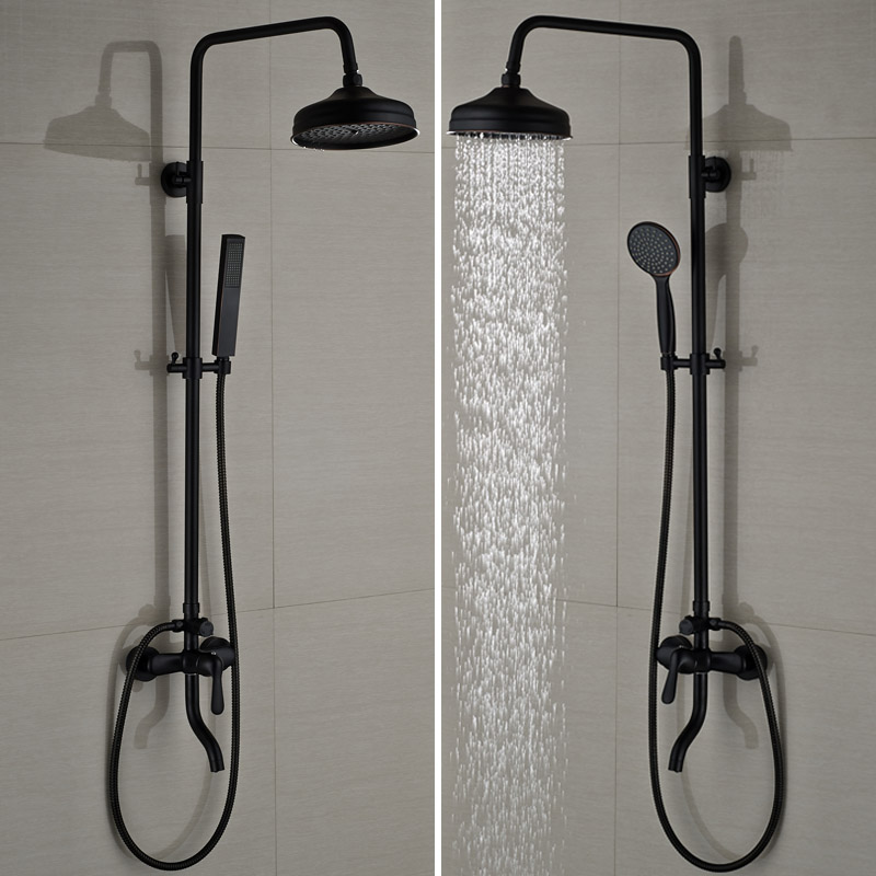 Bathroom Rainfall Shower Mixer Taps Single Handle Rotation Tub Filler Shower Faucet Wall Mount Oil Rubbed Bronze