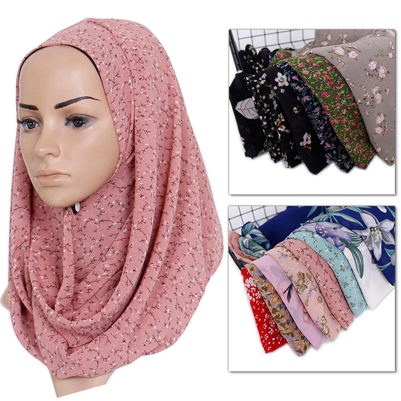 Printe Chiffon Hijab Scarf Design Flower Shawls Women Muslim Scarves Long Wraps Turbans Headband Long Scarves 15 Color 10pcs/lot