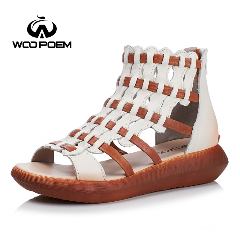WooPoem 2017 Summer Shoes Woman Comfortble Genuine Leather Sandals Women Platform Flat With Heel Shoes Sweet Girl Sandale 9012 phyanic 2017 gladiator sandals gold silver shoes woman summer platform wedges glitters creepers casual women shoes phy3323