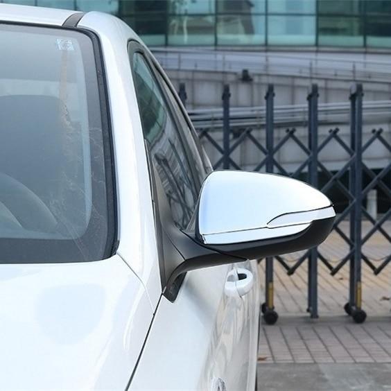 Luhuezu 2 pièces ABS chromé côté miroir couverture porte miroir couverture pour Hyundai ACCENT SOLARIS VERNA 2017 2018 accessoires