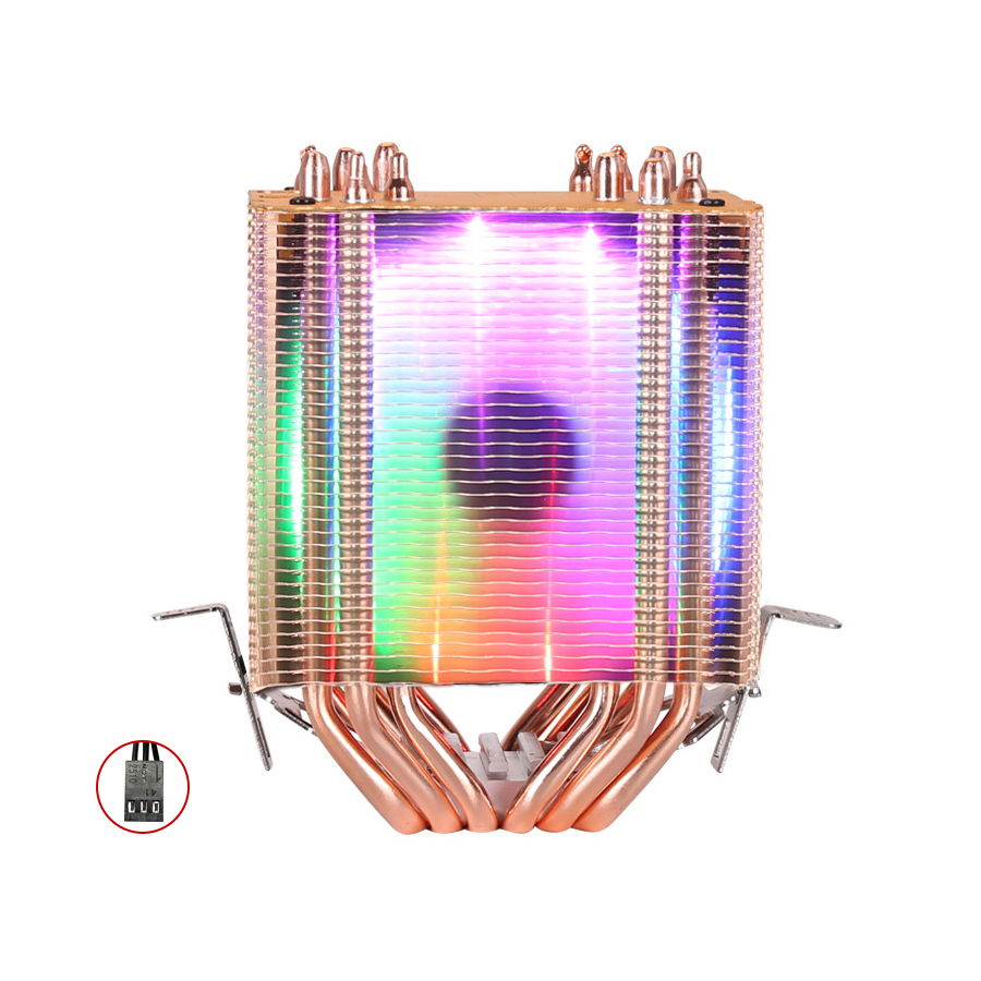Image 4 - CPU cooler High quality 6 heat pipes dual tower cooling 9cm RGB fan support 3 fans 3PIN CPU Fan for Intel and For AMD-in Fans & Cooling from Computer & Office