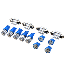 13pcs Blue Car Interior LED Light Set Kit 31mm 12SMD LEDs+T10 5SMD LEDs+8SMD Flat Top LEDs Map Dome License Plate Bulb