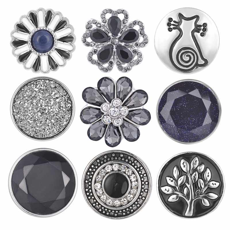 Grey Color Design Snap button 18mm Snap Charms fit Ginger Snaps jewelry Vn-1984