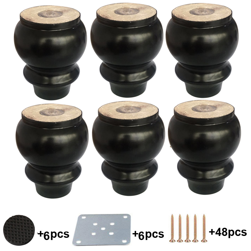 6pcs Wood Sofa Legs 4 Inch Black Solid Wood Finished Replacement Furniture Feet Applicable Sofa Bed Cupboard Dressing Table
