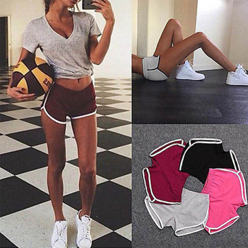 New 2017 Women Cotton Blend Summer shorts 4 colors contrast binding side split elastic waist Patchworf