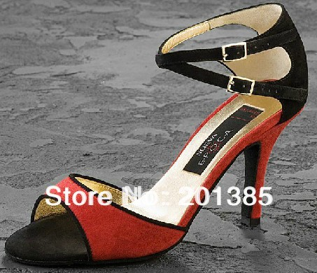 Sexy Ladies Red&Black Velvet LATIN Shoes Ballroom Dance Shoes Salsa Tango Bachata Shoes
