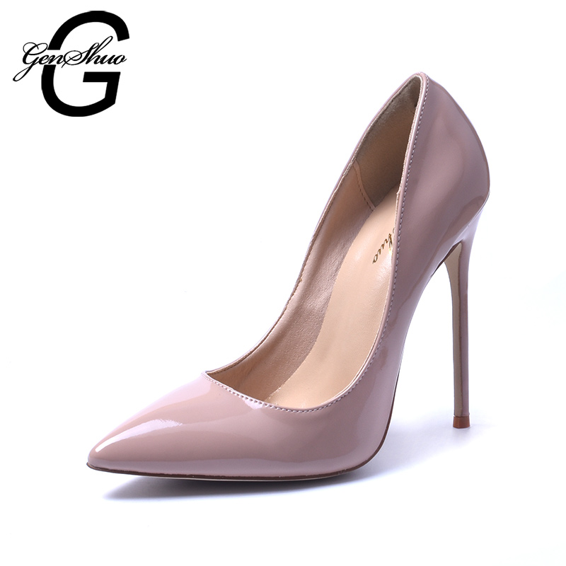 GENSHUO 2017 Zapatos Mujer Brand Shoes Woman High Heels 12cm Women Pumps Stiletto Thin Heel Women's Nude Pointed Toe Size 35-41