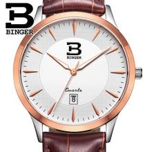 Швейцария часы мужские люксовый бренд БИНГЕР бизнес кварц полный нержавеющая сталь Водонепроницаемость Наручные Часы B3005M-7