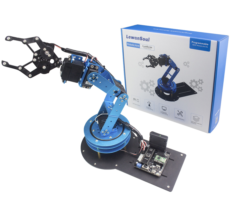6 DOF Robot Manipulator Metal Alloy Mechanical Arm Clamp Claw Gripper Kit Ardu***/STM32/51 for Robotic Education symmetric grasping large clamp mechanical robot claw manipulator gripper metal aluminum hand grips paw w ldx 335mg servo
