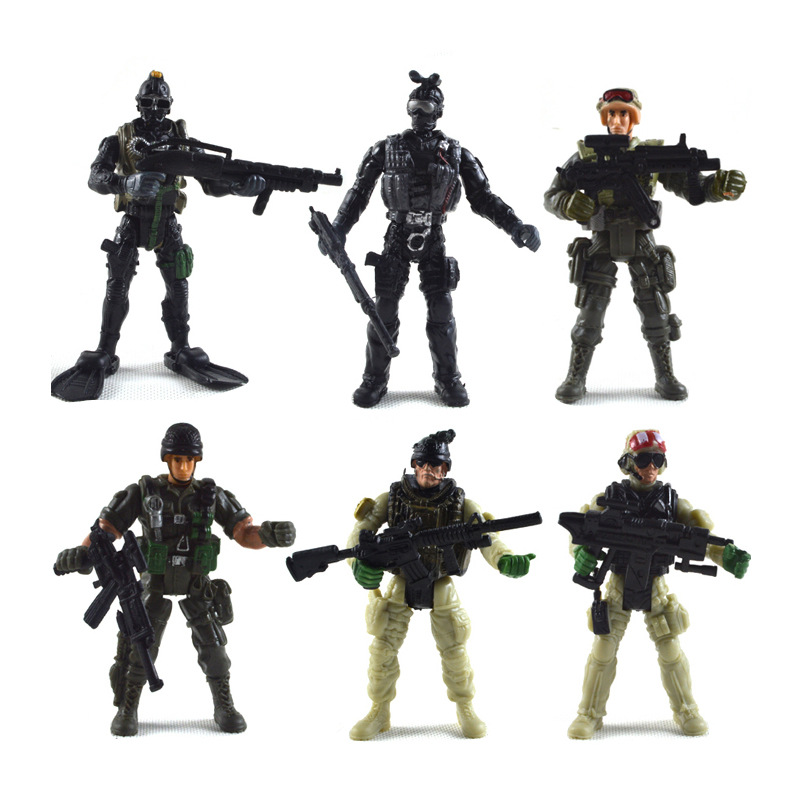 Action & Toy Figures Static Military Figures Model Toy 60 Accessories War Scene Sand Table Plastic Small Soldier Toy Suit For Children Gifts