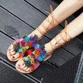 Falhanços da aleta das mulheres de Verão sapatos moda sandálias gladiador borla pom pom boêmio Praia flip flops mulheres sandálias flat