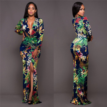 Global Hot Sale V-neck Print Women's Dress Slim Women's Dress Sexy Casual Long Plus Size Women's Dress Fat MM Split Dress цена 2017