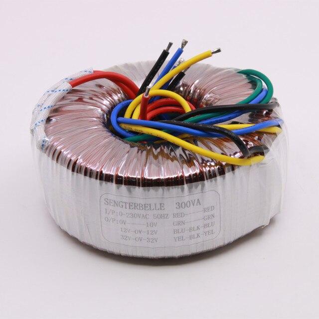 300 W אודיו טבעתי שנאי פלט: 32V 0 32V, 12V 0V 12V, 0 10 V באיכות גבוהה טהור נחושת שנאי חשמל