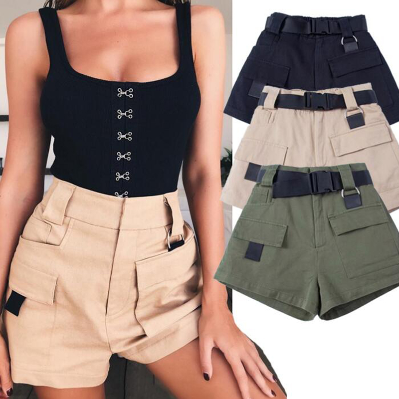 Women Military Style Cargo   Shorts   with Belt High Waist   Short   Pants 2018 Summer Elastic Waist Army Green Bottoms