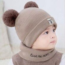 2018 Kids Newborn Baby Boy Girl Pom Hat Winter Warm Knitted Beanie Cap Scarf Set