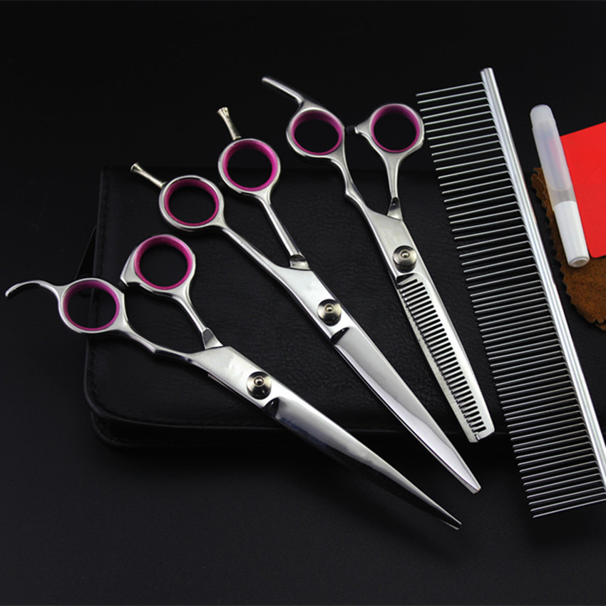 4pcs/set Professional 440c pet 7 inch shears dog grooming hair scissors cutting barber thinning clipper hairdressing scissors professional nail clipper and file set for pet dog