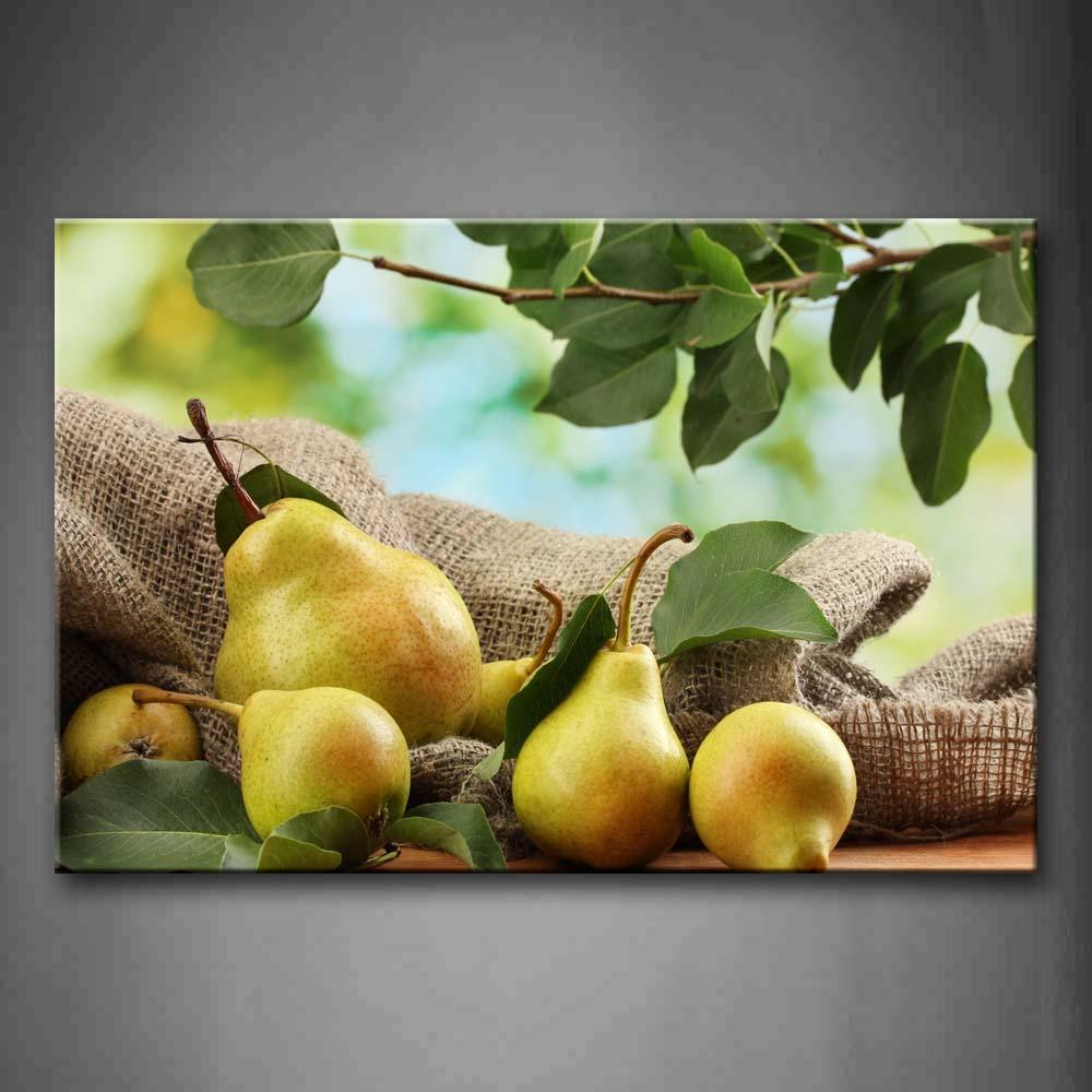 Encadrée mur Art photos poire tissu feuilles toile impression alimentaire moderne affiches avec cadre en bois pour la maison salon décor