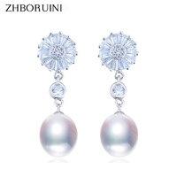 ZHBORUINI 2018 Fashion Pearl Earrings Pearl Jewelry 925 Sterling Silver Zircon Drop Earring For Women Natural freshwater pearl