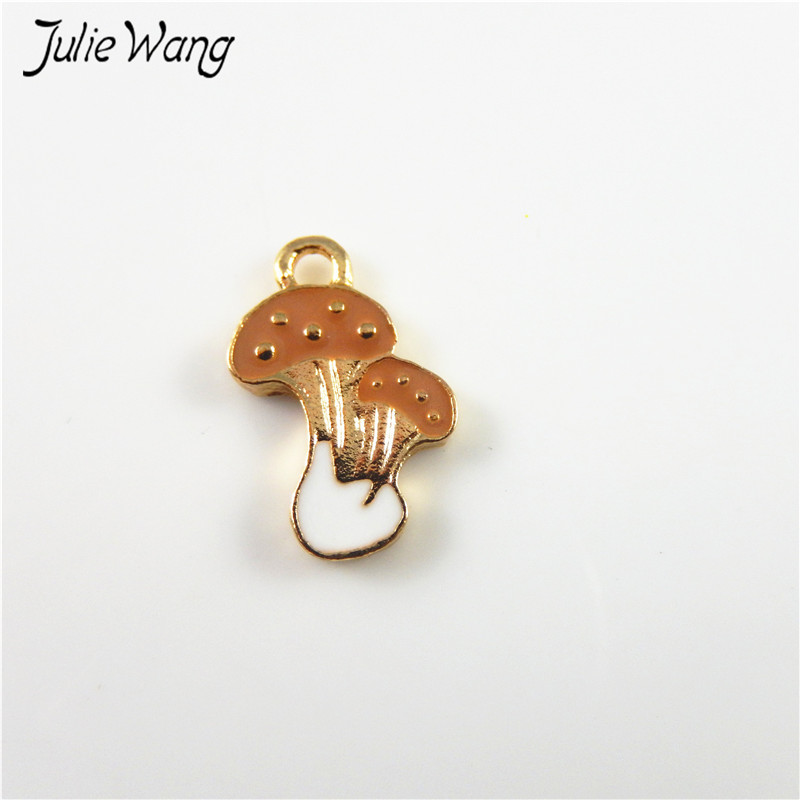 Julie Wang 20pcs Coffee White Gold Color Mushroom Shape Mini Enamel Alloy Pendant Charms for DIY Necklace Jewelry Dangle 18*10mm