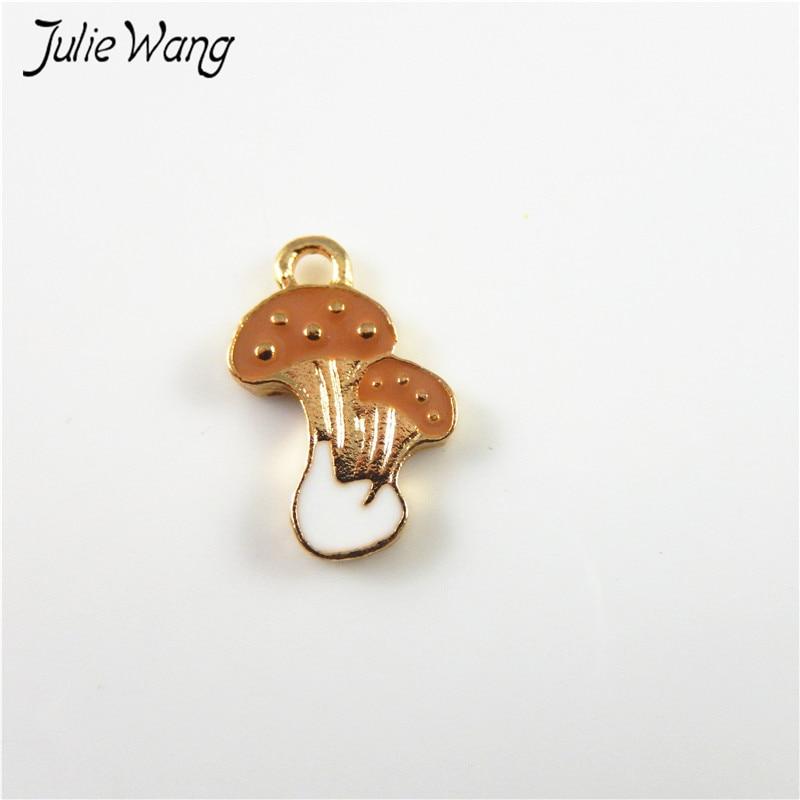 Julie Wang 20pcs Coffee White Gold Color Mushroom Shape Mini Enamel Alloy Pendant Charms for DIY Necklace Jewelry Dangle 18*10mm