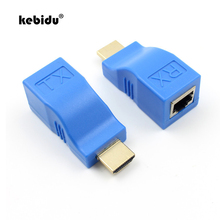 kebidu New Mini 4k RJ45 Ports HDMI Extender HDMI Extension to 30m Over CAT 5e / 6 UTP LAN Ethernet cable for 1080P HDTV HDPC