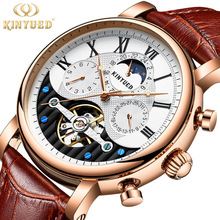 KINYUED Men's Mechanical Watches Top Brand Luxury Moon Phase Six-needle dial Skeleton Watch With Automatic Winding Hollow Dial kinyued creative automatic men watches 2018 luxury brand moon phase mens mechanical watch skeleton rose gold horloges mannen